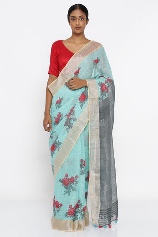 Cerulean Blue Pure Linen Saree with All Over Floral Print and Woven Silver Zari Border