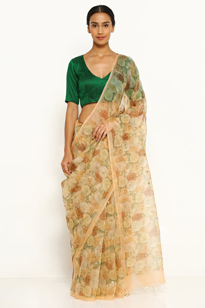 Via East light peach pure silk organza saree with all over floral print and gold zari buttis