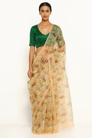 Light Peach Pure Silk Organza Saree with All Over Floral Print and Gold Zari Buttis