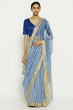 Blue Handloom Pure Silk Cotton Chanderi Saree with All Over Striped Pattern