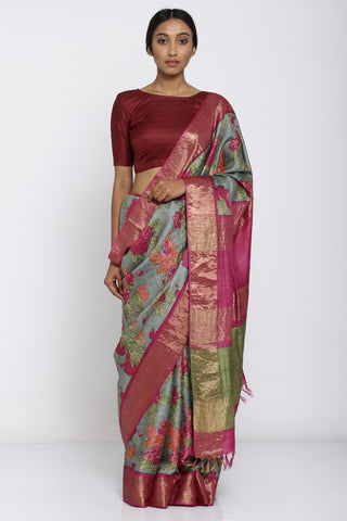 Grey Handloom Pure Tussar Silk Saree with Allover Digital Floral Print