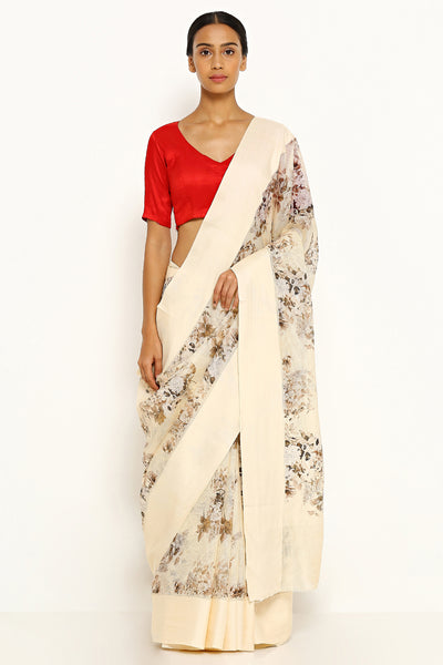 Via East beige pure kota silk saree with all over floral print