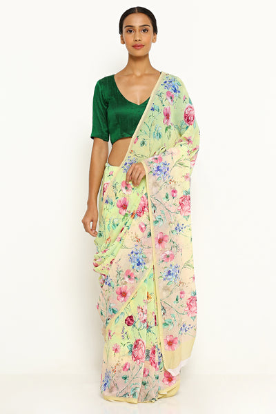 Via East yellow green pure wrinkled chiffon saree with all over floral print