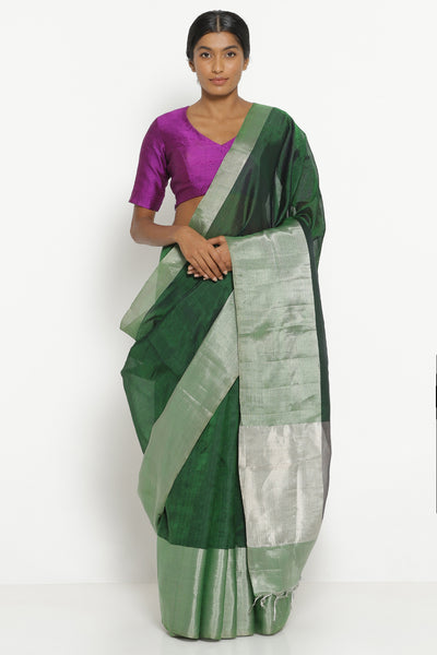 Via East deep green handloom silk cotton mangalagiri saree with rich silver border