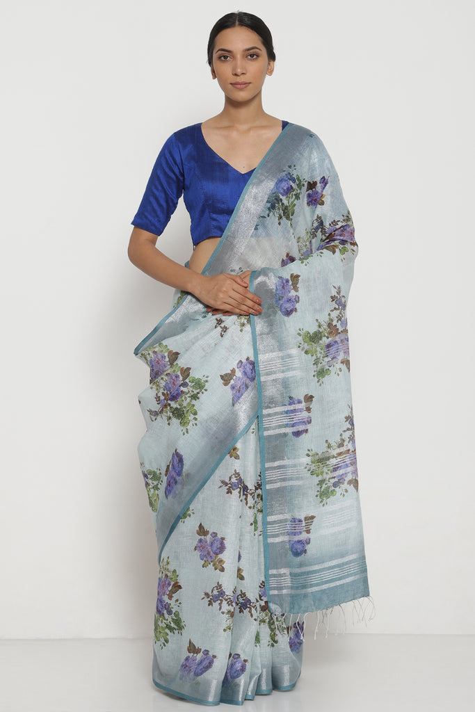 Blue Grey Pure Linen Saree with All Over Floral Print