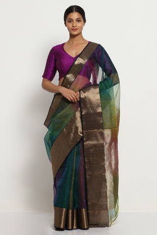 Blue Green Handloom Pure Silk Chanderi Saree with Ombre Effect