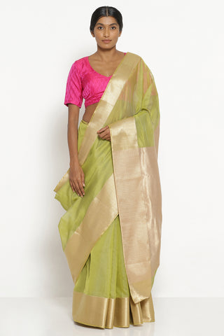 Leaf Green Handloom Silk Cotton Chanderi Saree with Rich Gold Border