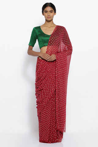 Maroon Chiffon Traditional Bandej Print Sheer Saree with Brocade Blouse