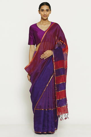 Violet Handloom Pure Silk Cotton Mangalagiri Saree with All Over Striped Pattern