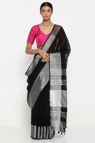 Black Handloom Pure Linen Saree with Silver Tissue Border and Striking Blouse