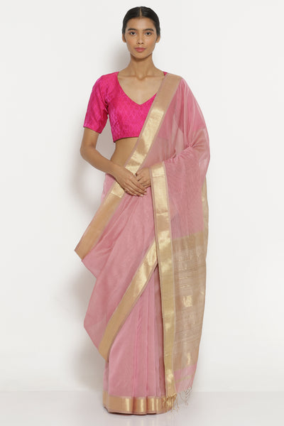 Via East pink handloom pure silk cotton maheshwari saree with detailed gold border
