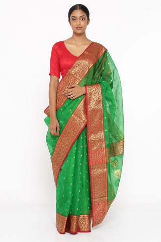 Emerald Green Handloom Pure Silk Chanderi Sheer Saree with Allover Zari Butti and Rich Woven Border