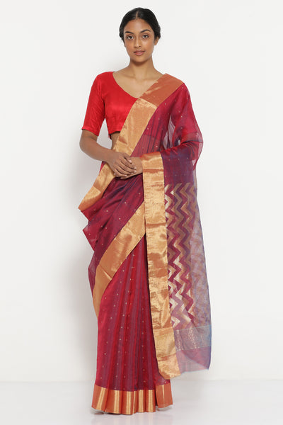 Via East mulberry purple handloom pure silk cotton chanderi saree with detailed pallu