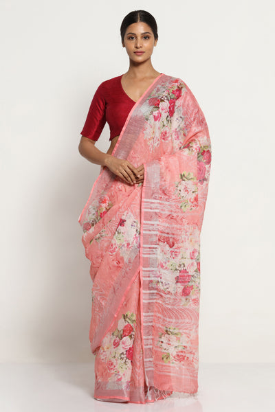 Via East dusty pink pure linen saree with all over floral print and silver zari border