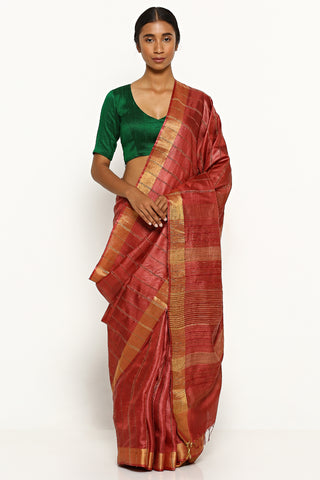 Garnet Red Handloom Pure Tussar Silk Saree with Woven Stripes