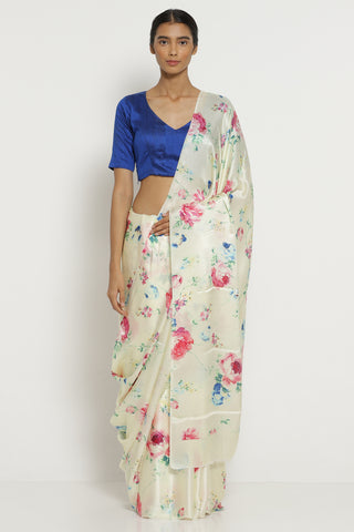Cream Silk Satin Saree with All Over Floral Print