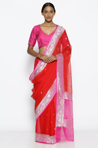 Red Pure Chiffon Banarasi Saree with Contrasting Pink Zari Border