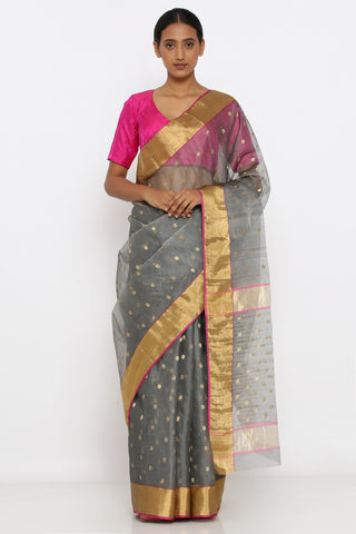 Grey Handloom Silk Chanderi Sheer Saree with Allover Zari Motif and Rich Pallu