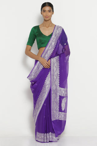 Purple Handloom Pure Chiffon Banarasi Saree with All Over Silver Zari Motifs