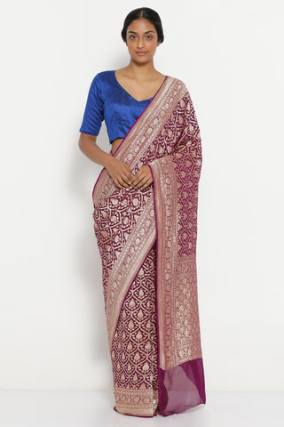 Purple Handloom Pure Silk-Georgette Banarasi Saree with All Over Gold Zari Motifs