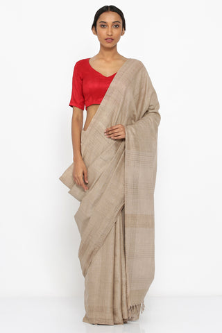 Khaki Brown Handloom Pure Tussar Silk Saree with Striped Border