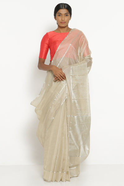 Via East off white handloom silk tissue chanderi saree with detailed pallu