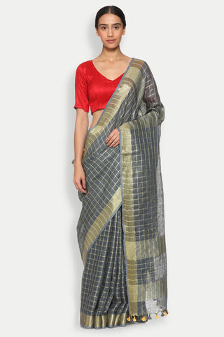 Slate Grey Pure Linen Saree with All Over Checked Pattern