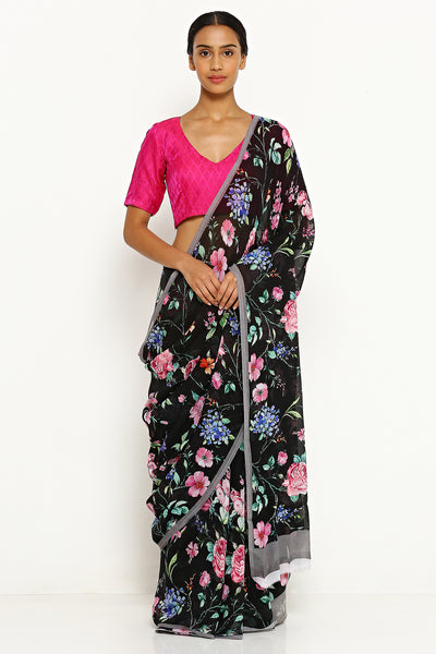 Via East black pure wrinkled chiffon saree with all over floral print and grey border