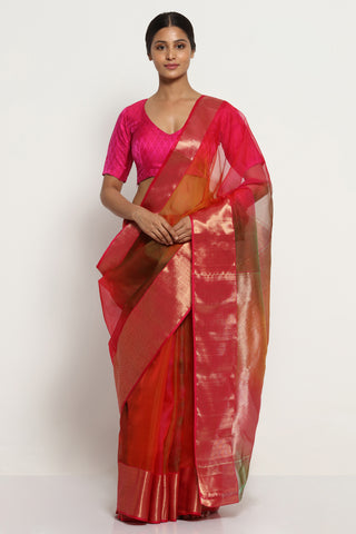 Deep Red Handloom Pure Silk Chanderi Saree with Ombre Effect