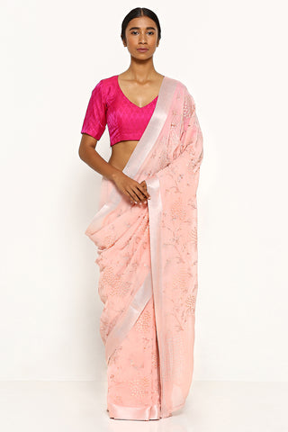 Blush Pink Pure Chiffon Saree with All Over Floral Embroidery and Pink Satin Border