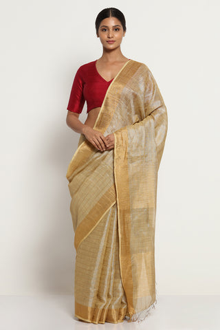 Gold Beige Linen Tissue Saree with All Over Silver Zari Stripes