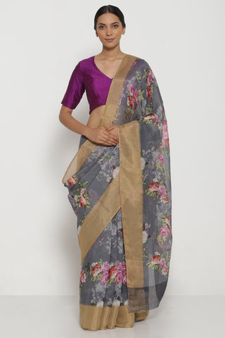 Grey Pure Linen Cotton Saree with All Over Floral Motifs and Gold Woven Border