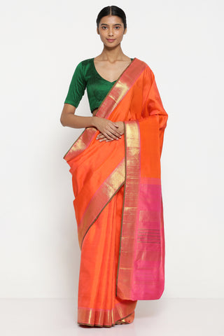 Bright Orange Handloom Pure Silk Kanjeevaram Saree with Rich Pure Zari Border