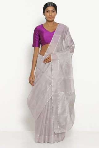 Lavender Handloom Silk Tissue Chanderi Saree with Detailed Pallu
