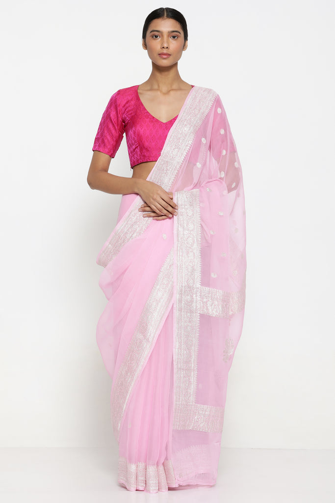 Powder Pink Pure Silk-Georgette Banarasi Sheer Saree with All Over Silver Zari Motifs and Rich Border
