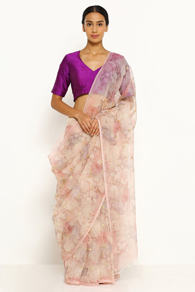 Via East light lavender pure silk organza saree with all over floral print and gold zari buttis