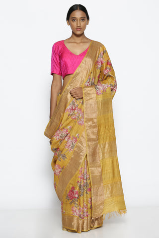 Amber Yellow Pure Tussar Silk Handloom Saree with All Over Floral Print