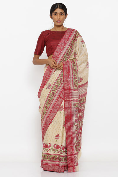 Via East beige handloom pure tussar silk saree with floral block print and detailed pallu