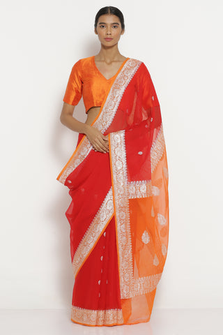 Red Handloom Pure Chiffon Banarasi Saree with All Over Silver Zari Motifs and Contrast Pallu