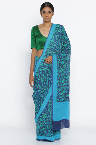 Deep Blue Pure Crepe Saree with All Over Digital Floral Print and Detailed Border
