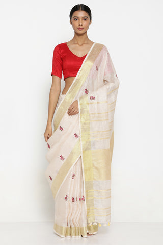 Beige Handloom Pure Linen Saree with All Over Floral Embroidered Motifs and Striking Gold Tissue Border