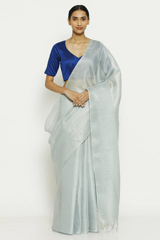 Icy Blue Jute Cotton Saree with Tasseled Pallu