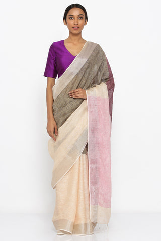 Taupe and Yellow Handloom Pure Linen Saree with Pink Pallu