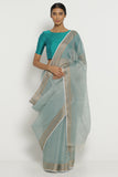 Blue Grey Pure Cotton Kota Saree with Woven Border