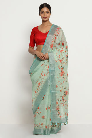 Winter Green Pure Linen Saree with All Over Floral Print and Silver Zari Border