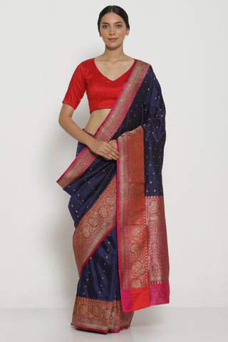 Dark Blue Handloom Pure Silk Banarasi Saree with Antique Gold Zari Motifs and Contrast Border