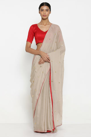 Beige Chiffon Saree with All Over Hand Embroidered Gota Patti Work and Contrasting Red Border