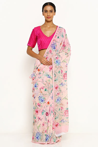 Via East pink pure wrinkled chiffon saree with all over floral print
