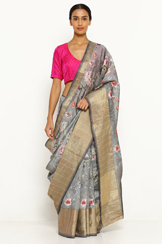 Grey Pure Dupion Chinon Silk Saree with All Over Floral Print
