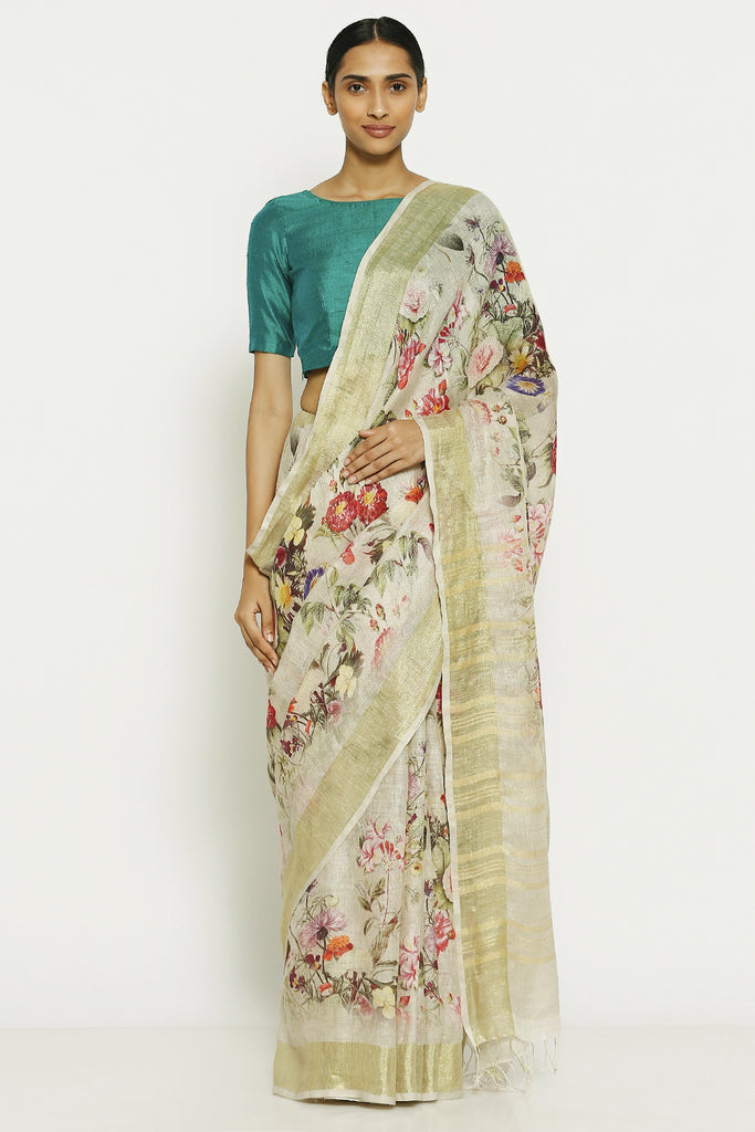 Cream Pure Linen Saree with All Over Floral Print and Gold Zari Border